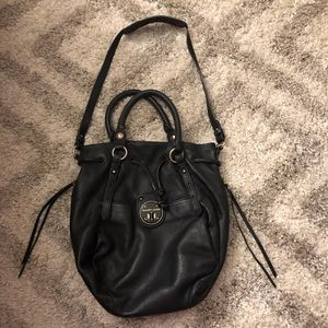 Elliot Luca drawstring black leather bag